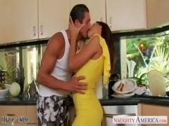 Brunette wife Rachel Starr taking cock in kitchen free