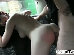Nasty chick ass fucked and cum facialed for a free fare