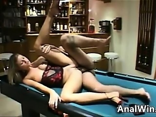 Blonde In Lingerie Licked On The Pool Table