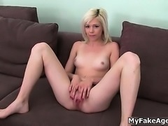 Sexy blonde babe gets horny showing off