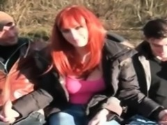 Readhead milf love giving blowjob outdoor