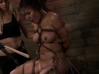 Strapon sub getting humiliated in femdom threeway