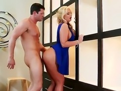 Phoenix Marie is a gorgeous blond-haired milf porn star in sexy blue shoes,...