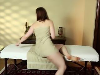 Big tit babe massaged
