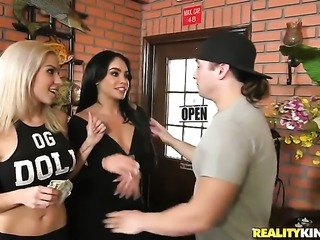 Brunette chachita with massive jugs and bald snatch wants mans fuck stick to fuck her mouth