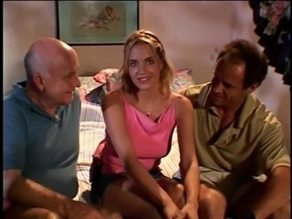 Two mature males watch cute young male fuck blonde bitch in the bedroom