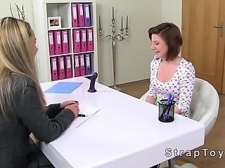 Female agent strapon dildo lesbian casting