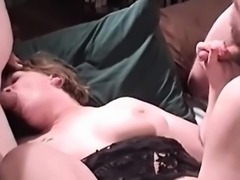 Busty mature babe is fucked by two horny