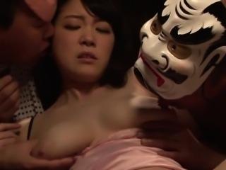 Japanese babe blows cocks