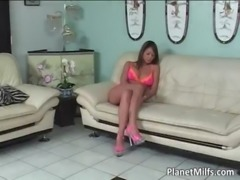 Horny and greedy Asian MILF takes whole free
