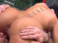 Shaved MILF Shay Fox with perfect tits gets nailed on the floor