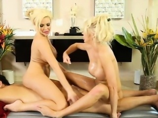 Two big tits blondes give erotic nuru massage and 3some fuck