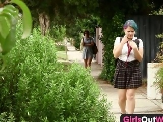Girls Out West - Hairy lesbian students squirting and strap on