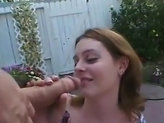 Nasty Red Haired Teen Banging Outside