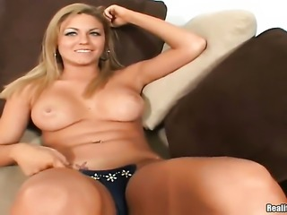 Blonde with big ass and bald twat is ready to spend hours with dudes meat...