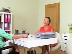 Lesbian blonde fingering female agent on casting