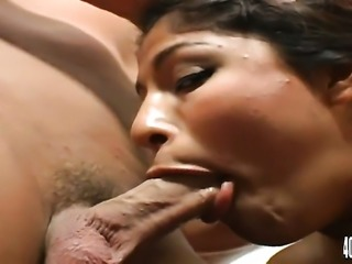 Christian makes Brunette with giant breasts suck his thick fuck stick non-stop