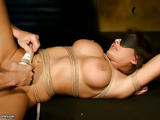 Brunette with big breasts spreads for horny fuck buddy