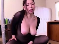 Hot asian Secretary enjoys her first day