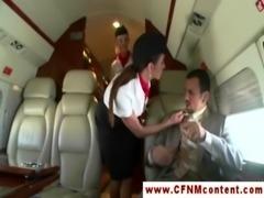 CFNM flight attendants fuck passenger free