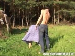 Horny local Boy Fucks A Redhead Mature Outdoors