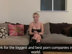 Huge tits blonde deep throats and ass fucked on casting