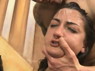 Shameless Brunette Very Rough Face Fucking And Spitting