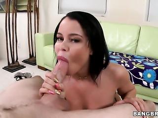 Nikki Delano with big butt enjoys erect schlong in her hands