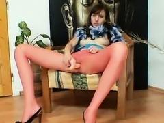 Euro cutie Alice got super legs and sexy red nylon