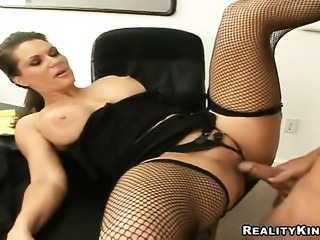 Brunette Elle Cee with bubbly bottom gets her mouth fucked silly by sex...