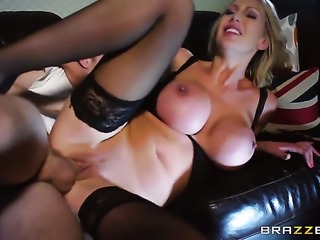 Danny D uses his throbbing tool to make blowjob addict Leigh Darby with gigantic hooters happy