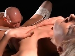 Hot call-girl fucking old man in wild position until cum end