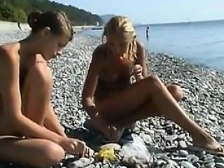 Sweet Naked Girls Having Fun At A Beach