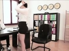 Hot horny secretary gets fucked hard