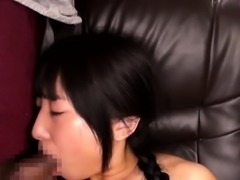 Cute japanese schoolgirl sucking an old cock