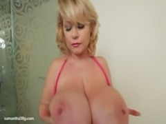 Busty BBW MILF Samantha 38G Drills Her Pussy With Dildo free