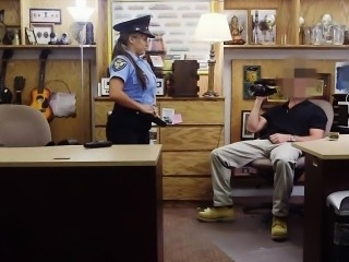Huge boobs police Officer pawns her pussy and fucked