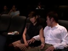 Asian teen pornstar Nina wanks guy in cinema