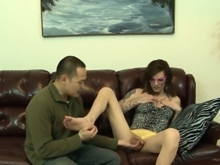 Feet sucked tgirl guzzled