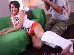 Asian teen model giving blowjobs and footjobs