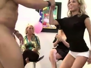 Muscled strippers get blowjobs from group of CFNM amateurs
