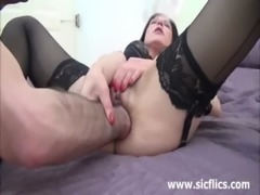 Hot brunette MILF fist fucked till she squirts free