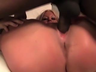 Black monster dick drilling white slick pussy