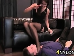 Worshipping This Womans Nylon Covered Feet