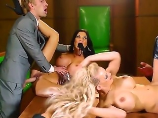 Two busty sluts Jasmine Jae and Loulou get their dripping wet pink fuck hole...