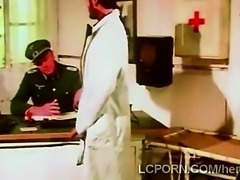 Naughty blonde nurse puts herself to the service of the army