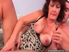 Grandma with hairy pussy sucks his pussy creamed cock free