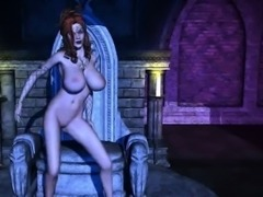 Busty 3D Medusa fingers and toys her wet pussy