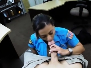 Huge boobs police officer sucks and fucked the pawnkeeper