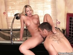 Brianna Beach gets her muff boned rough by guys erect meat pole